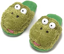 Kids Dezi AniMules Fuzzy Green Frog Slippers