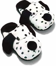 AniMules Funny Fuzzy Dalmatian Slippers - Adult Size