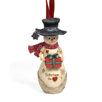 "The Birchhearts 4"" Snowman Ornament Holding Present by Pavilion Gift"