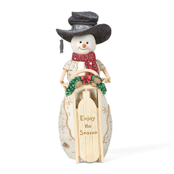 "The Birchhearts 9"" Snowman with Sled by Pavilion Gift"