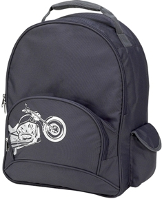 Gray Biker School Backpack by Four Peas