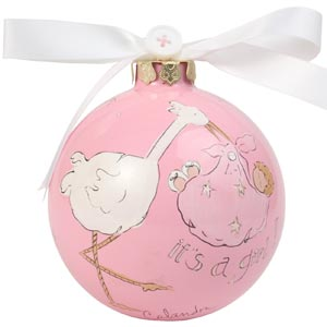 Baby Girl w/Stork Cute As a Button Ornament