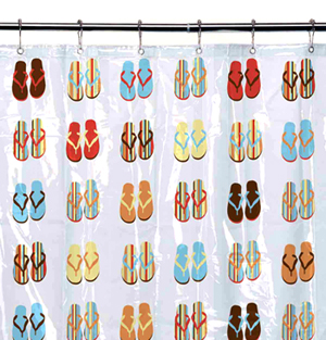 Clear Vinyl Flip-Flop Shower Curtain