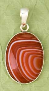 Sterling Silver Red Sardonyx Pendant - DISCONTINUED