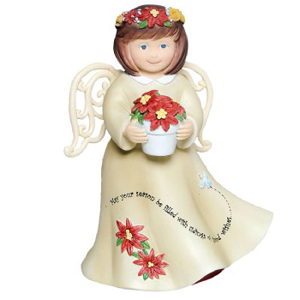 Ella Bella Good Wishes Angel w/Poinsettia