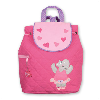 Stephen Joseph Pink Dancing Hippo Quilted Backpack