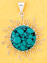 Sterling Silver Turquoise Sun Pendant