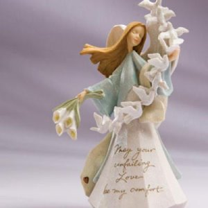 Foundations Angel with Doves Figurine