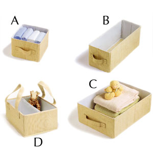 Ore Organization Essentials Cream Weave Caddy and Small, Medium and Large Storage Boxes