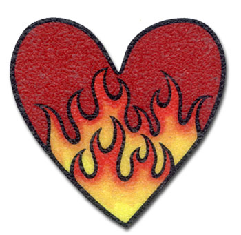 Funmade Flaming Hearts Non Slip Tub Appliques