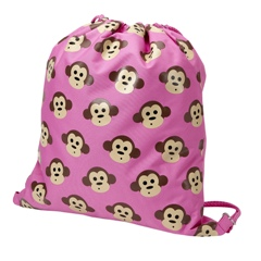 Four Peas Pink Monkey Drawstring Bag