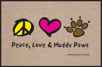 Peace, Love & Muddy Paws Funny Doormat