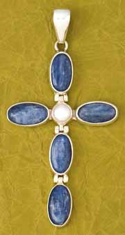 Kyanite & Pearl Cross Pendant