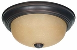 Nuvo 60-3105  Small Flush Dome Light in Mahogany Bronze with Champagne Linen Washed Glass Shade