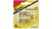Bussmann BP/ATM-25-RP  Clear ATM 25 Amp Fast-Acting Automotive Mini Blade Fuses - 5 per Card