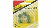 Bussmann BP/ATM-30-RP  Green ATM 30 Amp Fast-Acting Automotive Mini Blade Fuses - 5 per Card