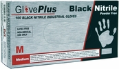 Ammex GPNB44100  GlovePlus Black Nitrile Powder Free - Medium - Box of 100 Gloves