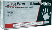 Ammex GPNB46100  GlovePlus Black Nitrile Powder Free - Large - Box of 100 Gloves