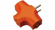 Coleman Cable 09906  3 Outlet Adapter Solid Molded PVC Orange