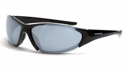 Crossfire 1863  Core Safety Glasses Silver Mirror Lens - Shiny Black Frame