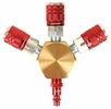 """Legacy A84444-D  3-Way Flat Hex Manifold with Three 1/4"""" ColorConnex Type D Couplers and One 1/4"""" Plug"""