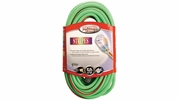 Coleman Cable 02548-88-54  50' Vinyl Stripes Jacketed 12/3 SJTW Outdoor Extention Cord with Lighted End - Green w/Red Stripe