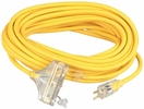 Coleman Cable 04188  50' Vinyl Jacketed 12/3 SJTW Tri-Source Three-way Power Block Outdoor Extension Cord with Lighted End