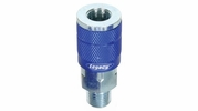 "Legacy A72420C  ColorConnex Blue Type C Automotive 1/4"" Body x 1/4"" Male NPT Quick-Disconnect Coupler - Carded (C1)"