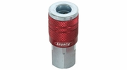 "Legacy A73410D  ColorConnex Red Type D Industrial 1/4"" Body x 1/4"" Female NPT Quick-Disconnect Coupler - Carded (C20)"