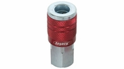 "Legacy A73410D-X  ColorConnex Red Type D Industrial 1/4"" Body x 1/4"" Female NPT Quick-Disconnect Coupler (C20)"