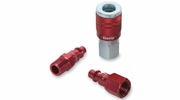 "Legacy A73452D  3 Piece ColorConnex Red Type D Industrial 1/4"" Body x 1/4"" Quick Disconnect Coupler and Plug Kit (C20,CP20,CP21)"