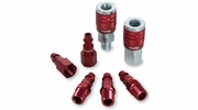 "Legacy A73457D  7 Piece ColorConnex Red Type D Industrial 1/4"" Body x 1/4"" Quick Disconnect Coupler and Plug Kit (C20,C21,CP20,CP21)"