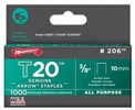 "Arrow Fastener 206  T20 3/8"" Flat Crown All Purpose Staples 1000 per Package"