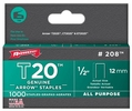 "Arrow Fastener 208  T20 1/2"" Flat Crown All Purpose Staples 1000 per Package"