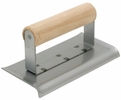 """Marshalltown 92  Nu-Pride 6"""" x 2-3/4"""" Curved Ends Concrete Edger with Wood Handle - 3/8"""" Radius, 1/2"""" Lip (16492)"""