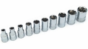 "Performance Tool W36002  10 Piece SAE 1/4"" Drive 6 Point Standard Socket Set"