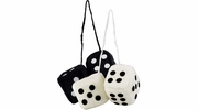 Bell Automotive 33603  Hanging Fuzzy Dice - White & Black for Rearview Car Mirror