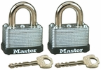 "Master Lock 22T  1-1/2"" Wide Laminated Warded Padlocks with 5/8"" Shackle Height - 2 per Package Both Keyed Alike"