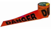"""C.H. Hanson 16103  300' x 3"""" Red 'DANGER' Barricade Safety Tape - Black Letters on Standard 2 mil Red Tape"""