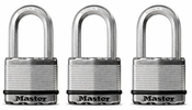 "Master Lock M5XTRILFHC  Magnum 2"" Wide Laminated Padlock with Tough-Cut Octagonal Shackle 1-1/2"" Height - 3 per Package All Keyed Alike"