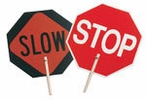 """C.H. Hanson 55450  'STOP' - 'SLOW' Traffic Safety Sign with 10"""" Wood Handle"""