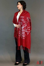 Shawl Red & Silver
