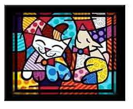 Happy Cat Snob Dog by Romero Britto