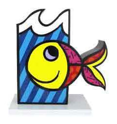 Boomfish 27 Inch Aluminum Sculpture by Romero Britto