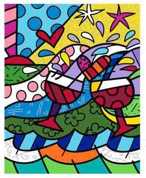Wine Country in Red - Embellished Giclee by Romero Britto
