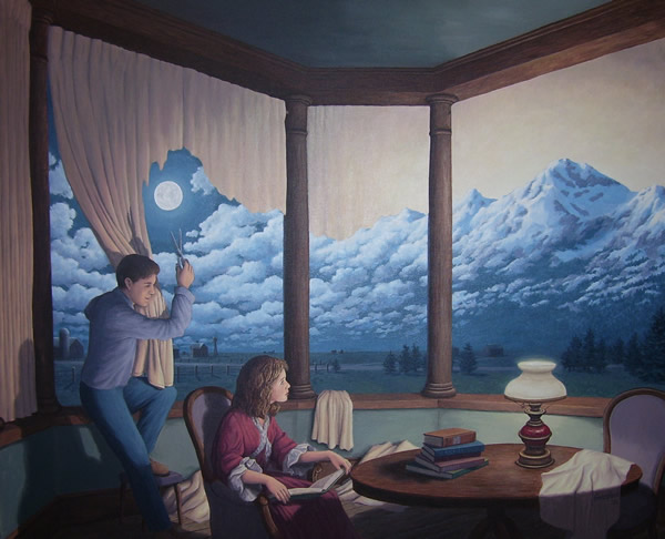 A Change of Scenery II (Making Mountains) by Rob Gonsalves