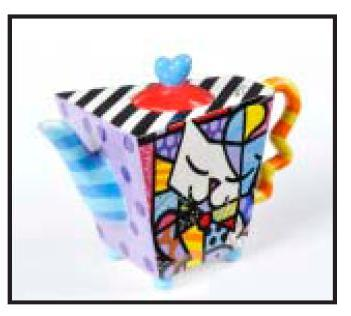 Romero Britto Ceramic White Cat Teapot 331306