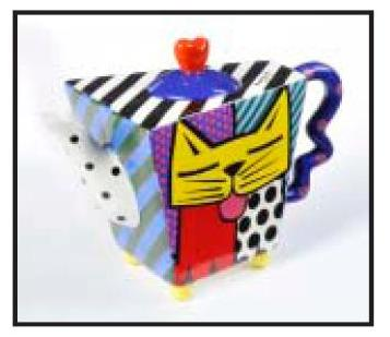 Yellow Cat Teapot by Romero Britto