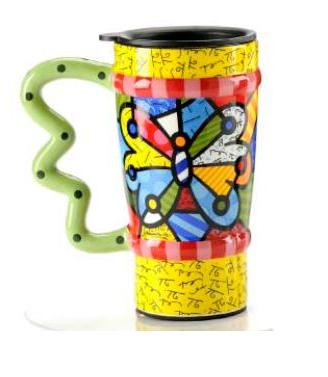 Butterfly Travel Mug by Romero Britto