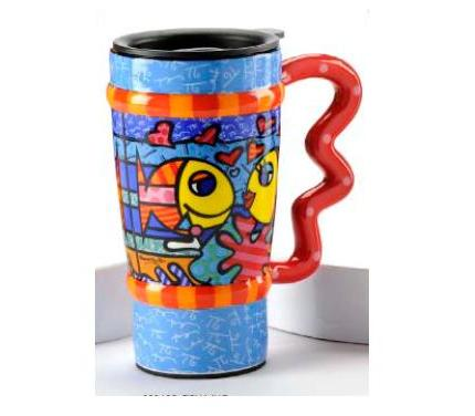 Fish Travel Mug by Romero Britto